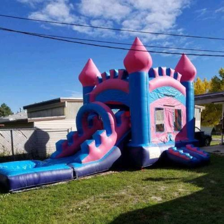 Pink and Purple Bouncy Castle Slide Pool Combo