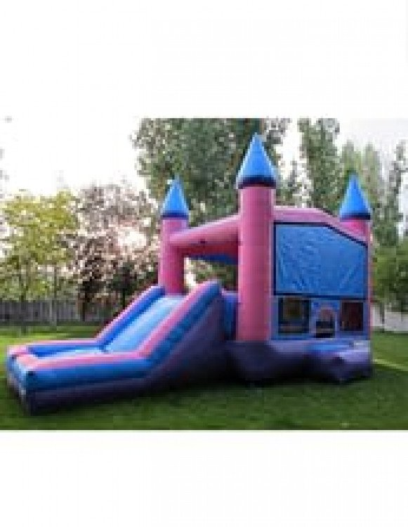 Pink Birthday Bouncer Castle and Slide Combo